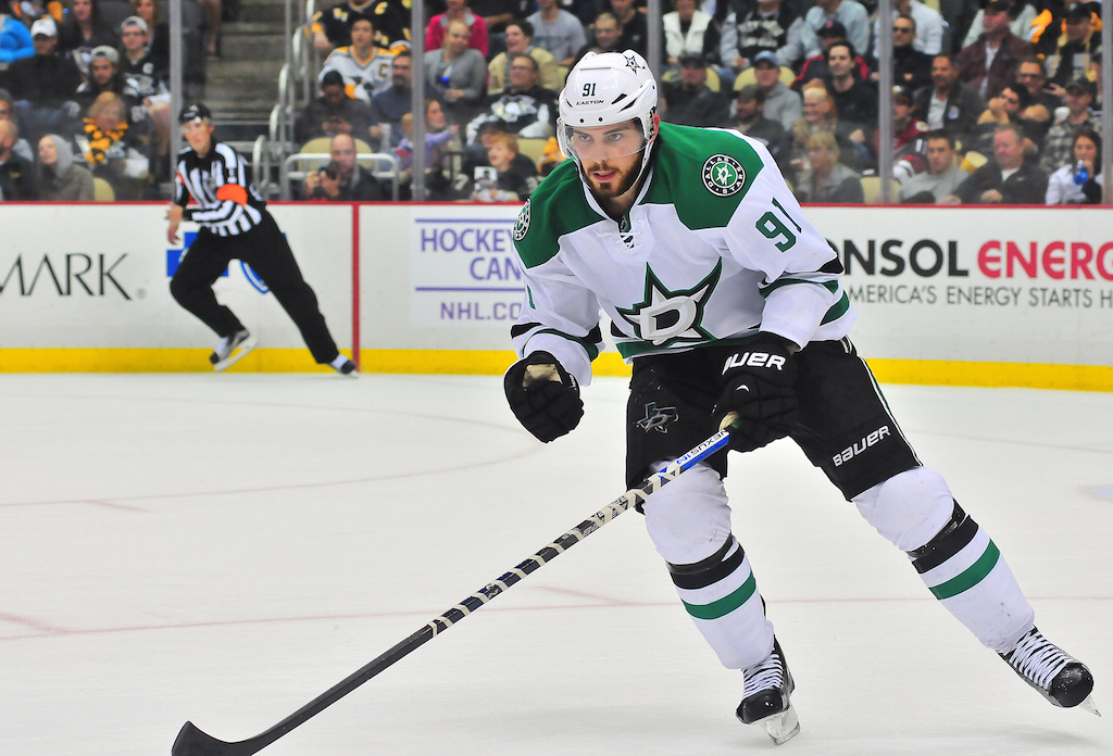 Tyler Seguin #91 of the Dallas Stars skates on the ice against the Pittsburgh Penguins