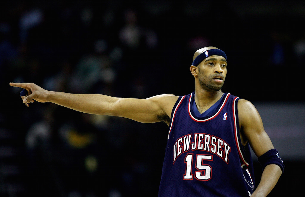 Vince Carter signals to his teammates during a game against the Bobcats