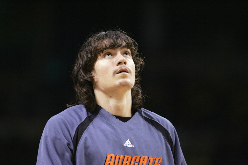 Adam Morrison looks on prior to a game against the Celtics