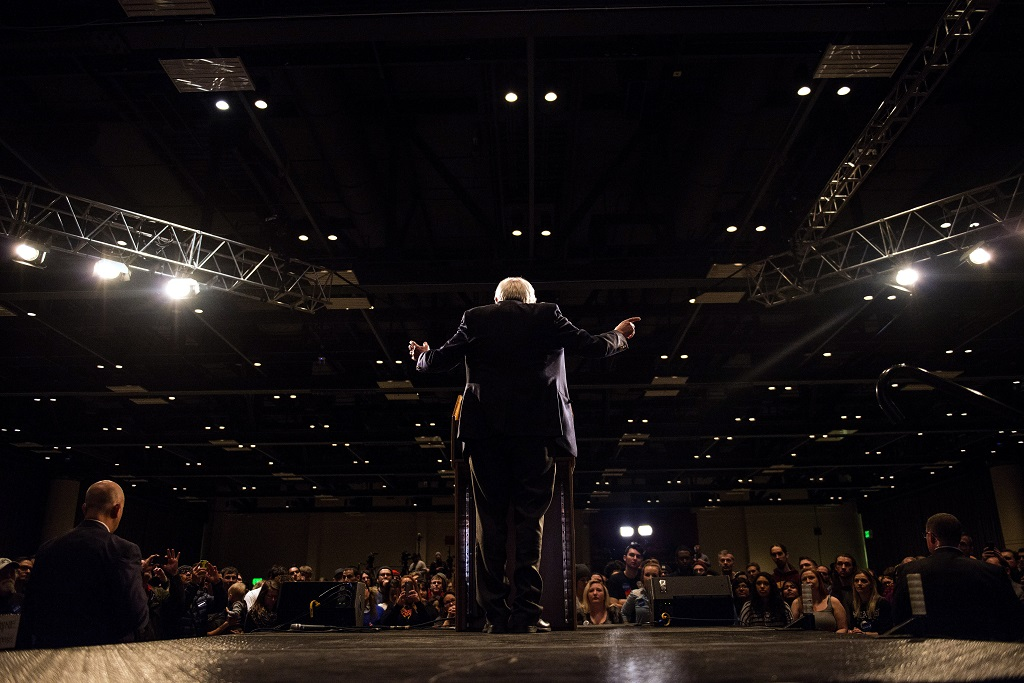 MINNEAPOLIS, MN- FEBRUARY 29: Democratic presidential candidate Sen. Bernie Sanders (D-VT) speaks to a crowd of supporters at the Minneapolis Convention Center in Minneapolis, MN. Sanders, who has spent the last four days campaigning in Minnesota, is hoping to win the State in the Super Tuesday primary election on March 1st, 2016.