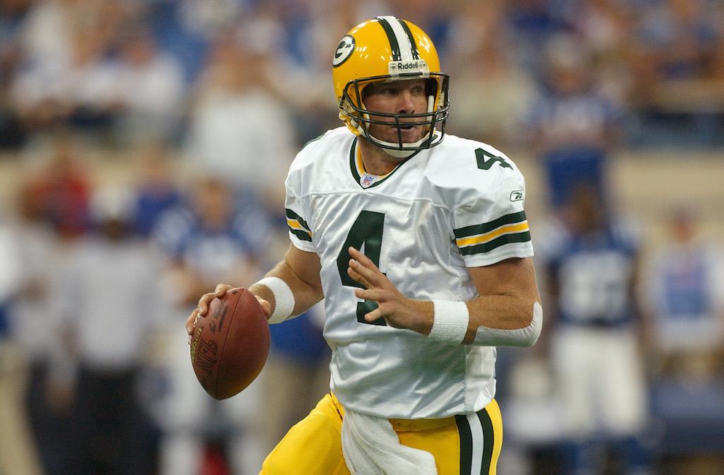 Green Bay Packers quarterback Brett Favre looks for a target.