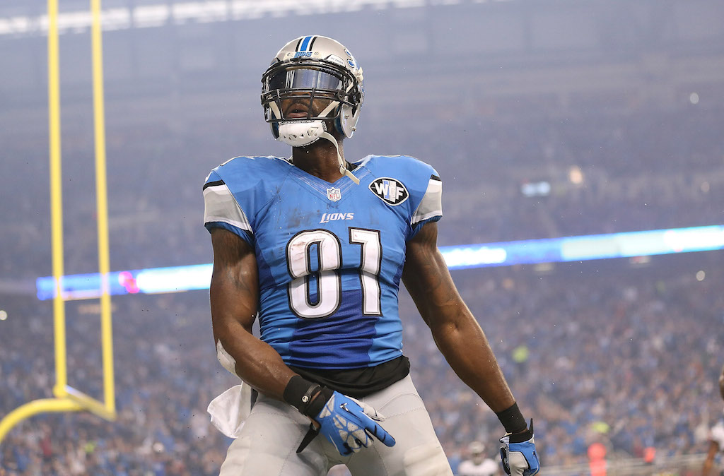 Calvin Johnson celebrates after a touchdown
