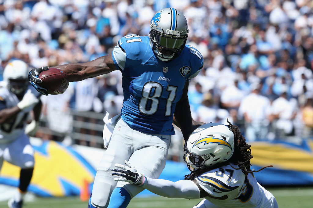 Calvin Johnson looks to run after the catch