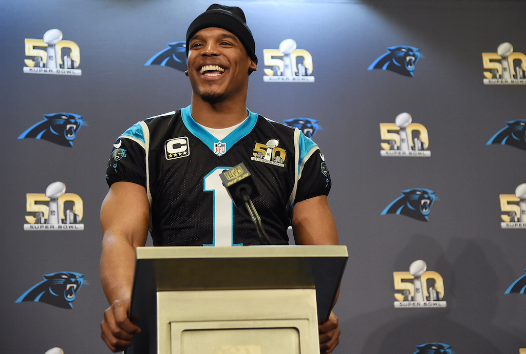 Quarterback Cam Newton #1 of the Carolina Panther addresses the media during media availability prior to Super Bowl 50