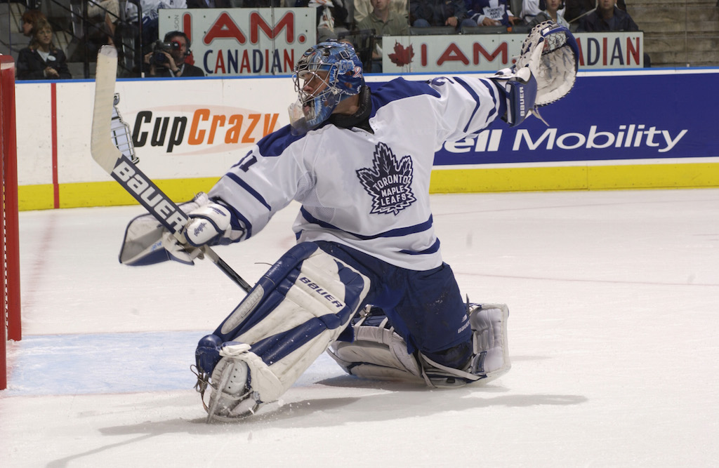 Goaltender Curtis Joseph #31 of the Toronto Maple Leafs watches the puck go behind him after a shot