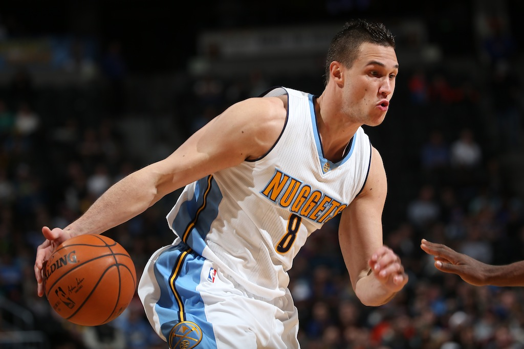 Danilo Gallinari #8 of the Denver Nuggets  looks to drive to the bucket