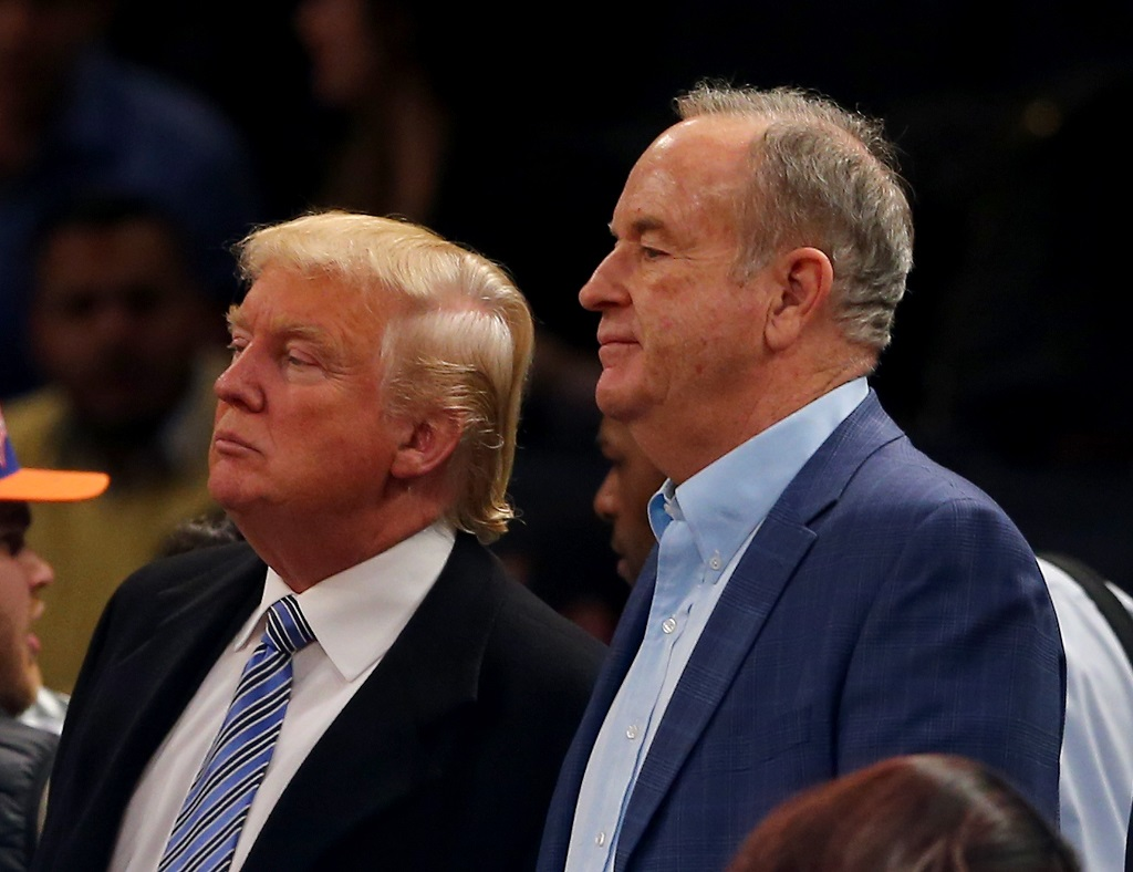 NEW YORK, NY - DECEMBER 04: Donald Trump and Bill O'Reilly attend the game between the New York Knicks and the Cleveland Cavaliers at Madison Square Garden on November 30, 2014 in New York City.