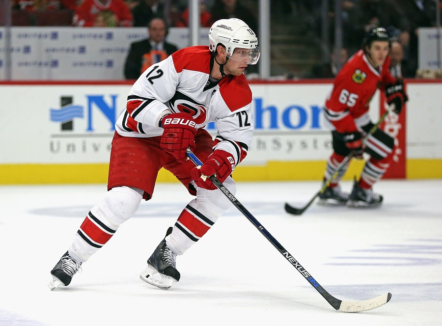 Eric Staal #12 of the Carolina Hurricanes during a hockey game