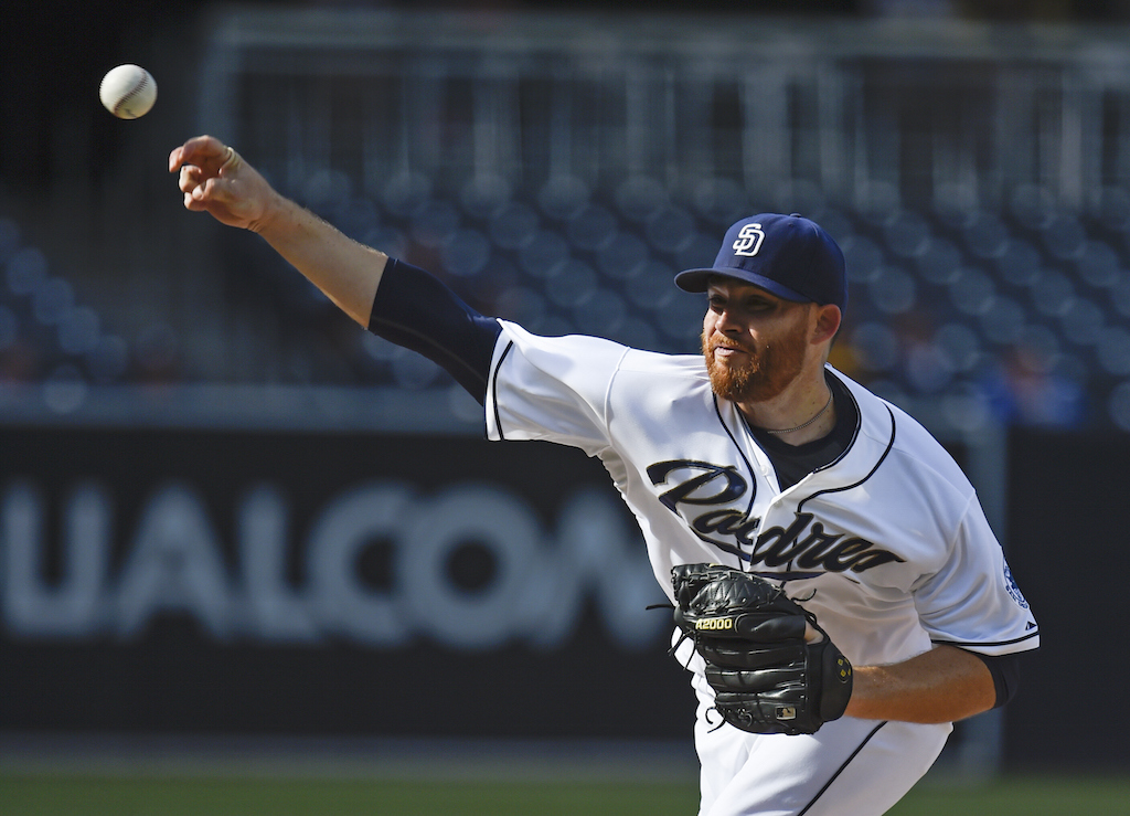 Ian Kennedy #22 of the San Diego Padres pitches (Denis Poroy/Getty Images)
