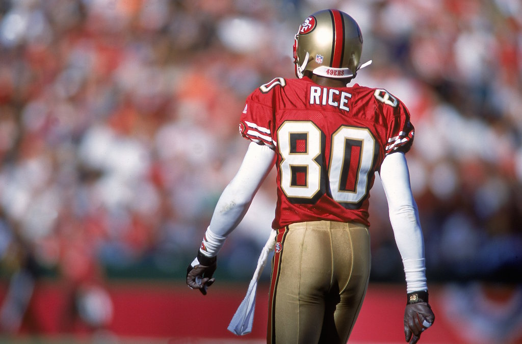 Jerry Rice looks out at fans.