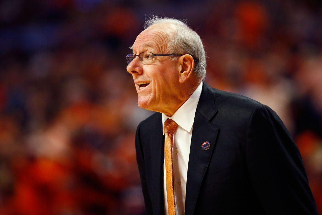 Jim Boeheim instructs his players from the sideline.