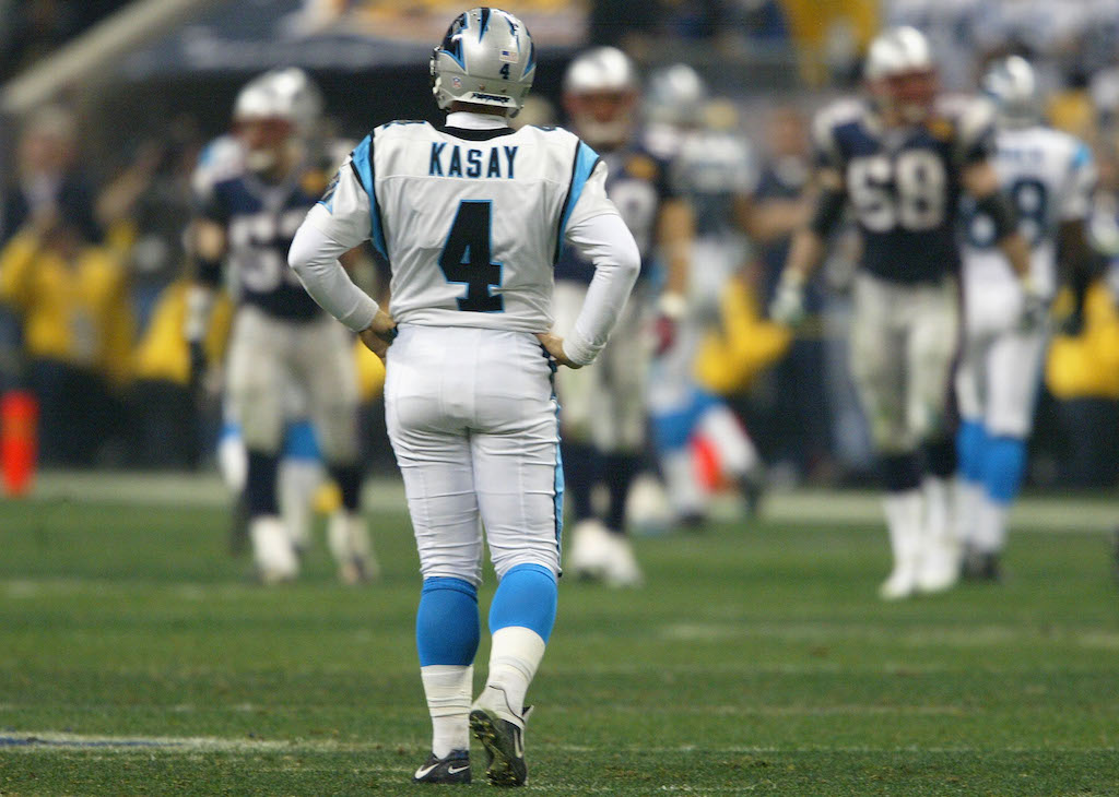 John Kasay #4 of the Carolina Panthers reacts after kicking the kick off out of bounds in the fourth quarter of Super Bowl XXXVIII