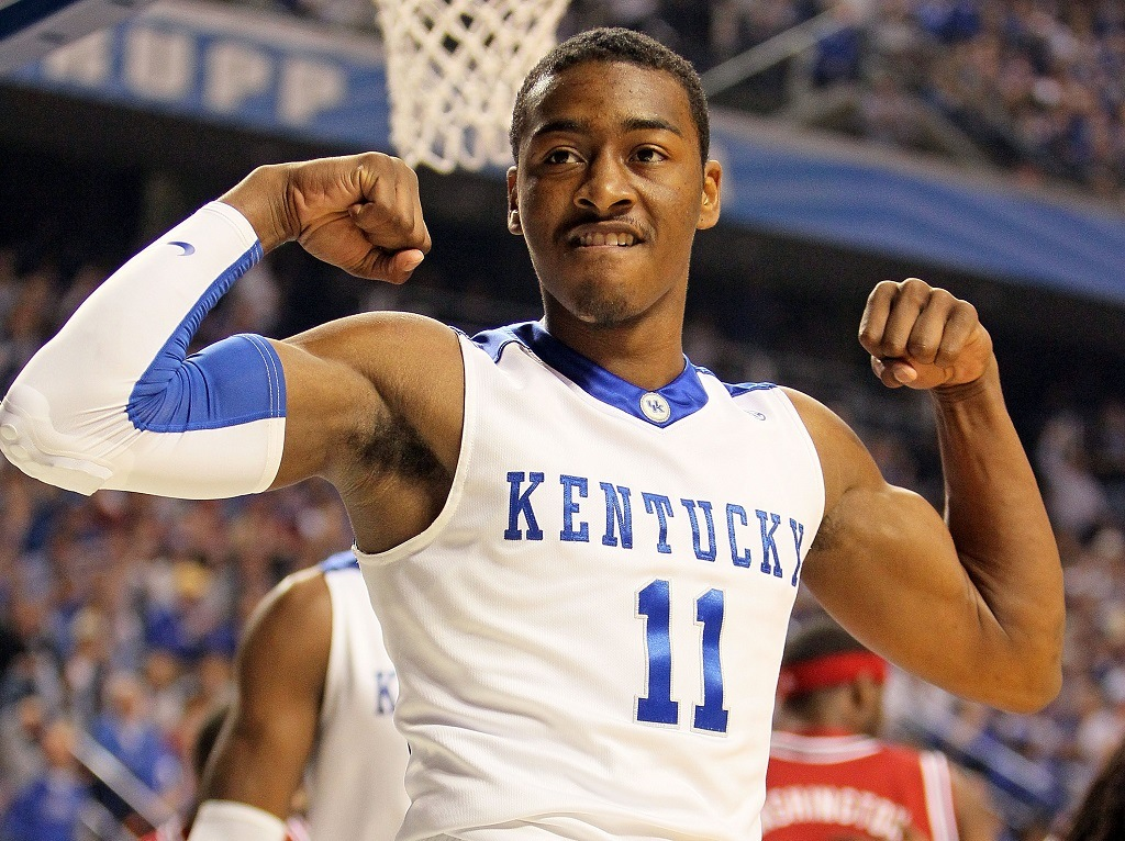 LEXINGTON, KY - JANUARY 23: John Wall #11 of the Kentucky Wildcats celebrates during the SEC game against the Arkansas Razorbacks on January 23, 2010 at Rupp Arena in Lexington, Kentucky. Kentucky won 101-70. (Photo by Andy Lyons/Getty Images)