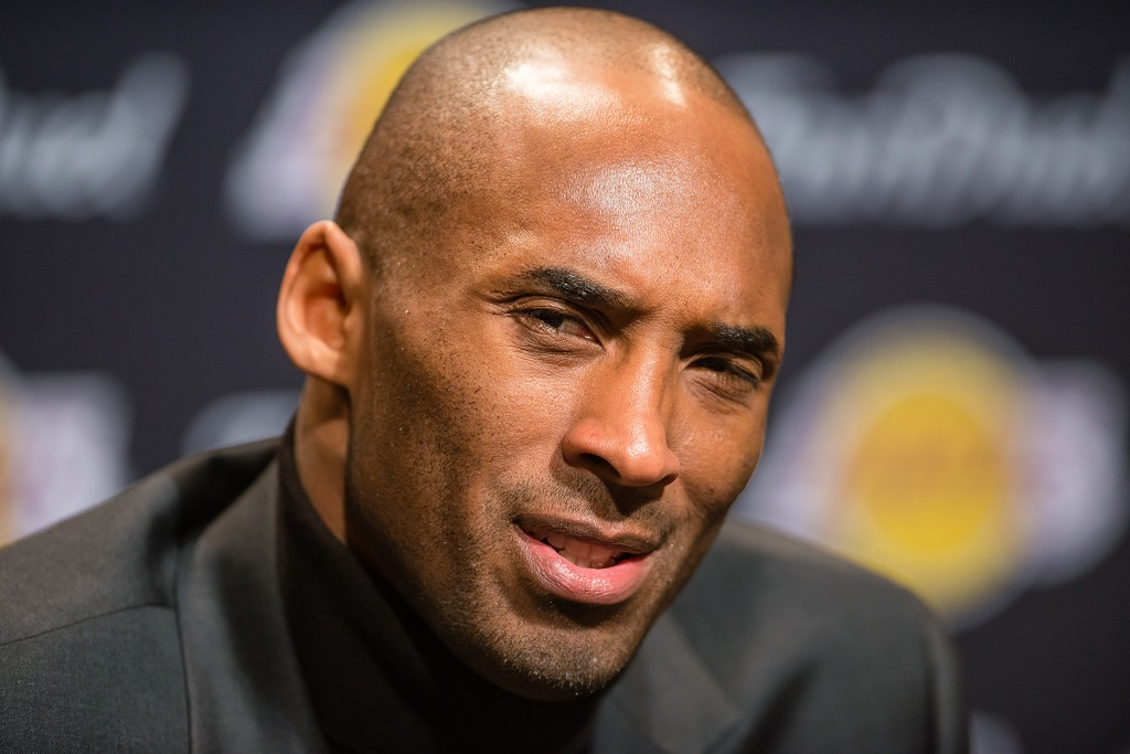 CLEVELAND, OH - FEBRUARY 10: Kobe Bryant #24 of the Los Angeles Lakers talks to the media during a press conference prior to the game against the Cleveland Cavaliers at Quicken Loans Arena on February 10, 2016 in Cleveland, Ohio.