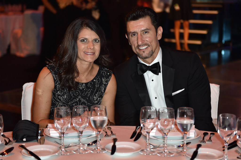 Mia Hamm and Nomar Garciaparra attend the Golden Foot 2014 Awards Ceremony