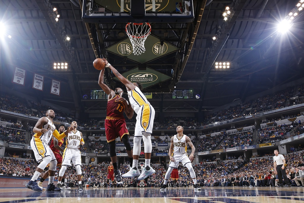 Myles Turner of the Indiana Pacers blocks a shot against Tristan Thompson of the Cleveland Cavaliers.