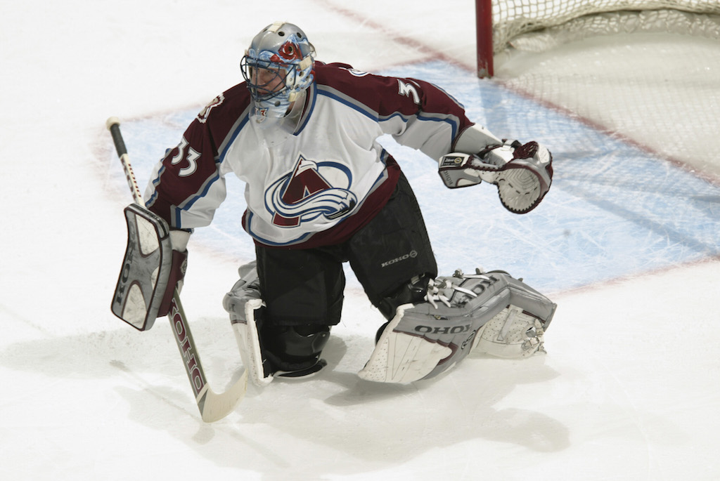 Patrick Roy of the Colorado Avalanche during the game against the Los Angeles Kings