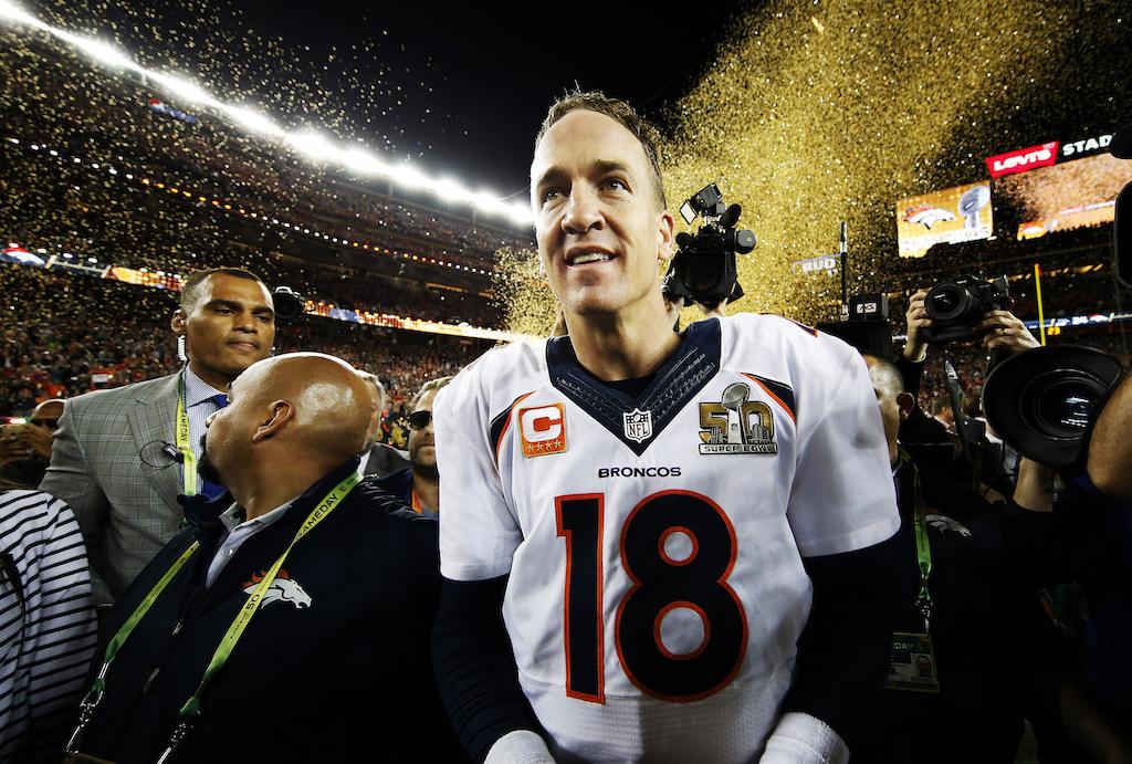 Peyton Manning celebrates after winning Super Bowl 50