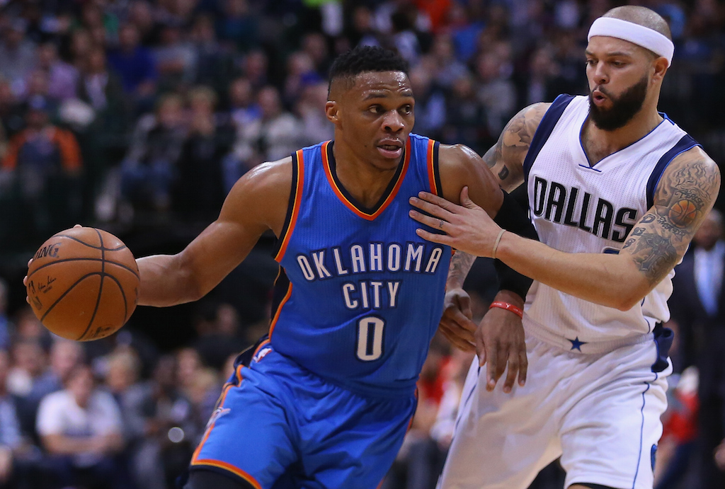 Russell Westbrook drives past his defender.