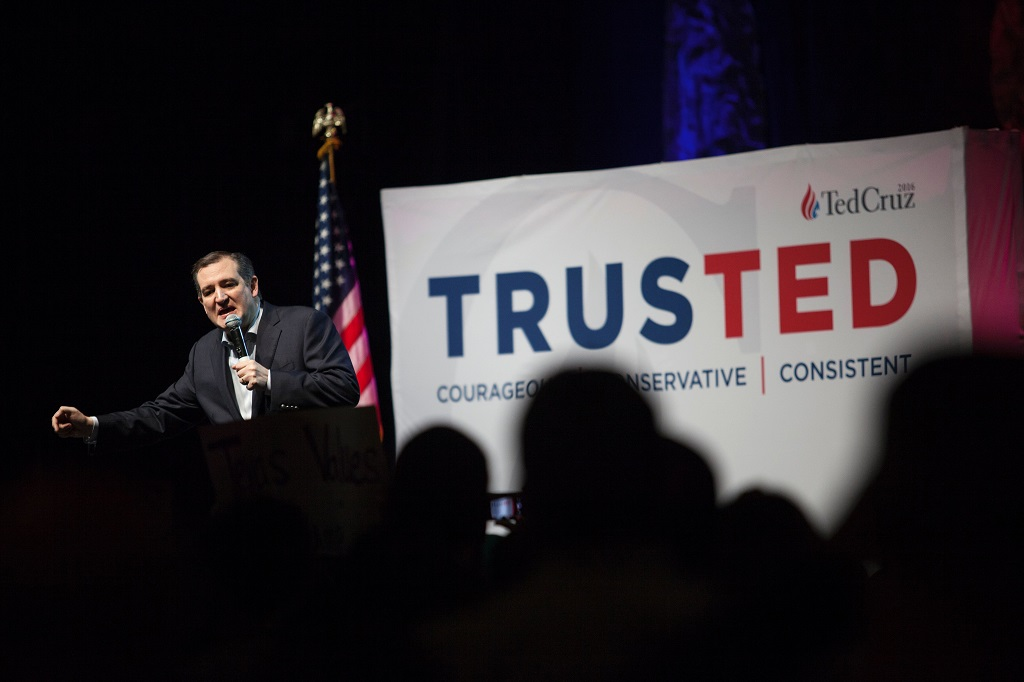 "US Republican presidential hopeful Sen. Ted Cruz speaks at a campaign rally in Dallas, Texas on February 29, 2016 one day before the ""Super Tuesday"" primaries. Americans in a dozen states head to the polls for a slew of primaries and caucuses March 1 on what is considered the most important day of the presidential nominations calendar."