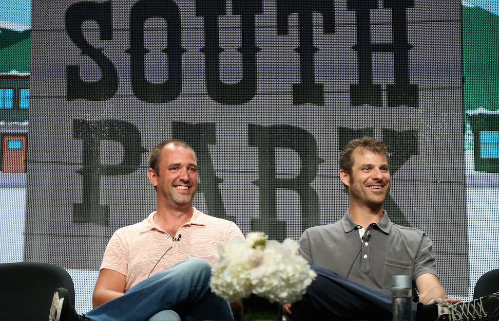 Writer/creators Trey Parker and Matt Stone speak onstage at the 'South Park' panel