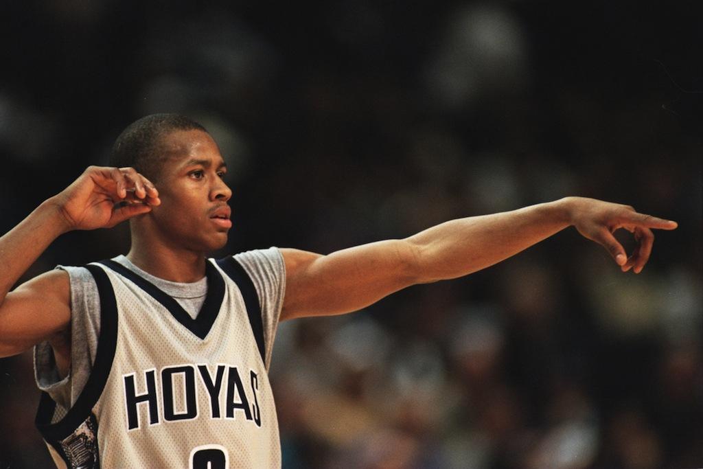 Allen Iverson signals to Georgetown teammates.