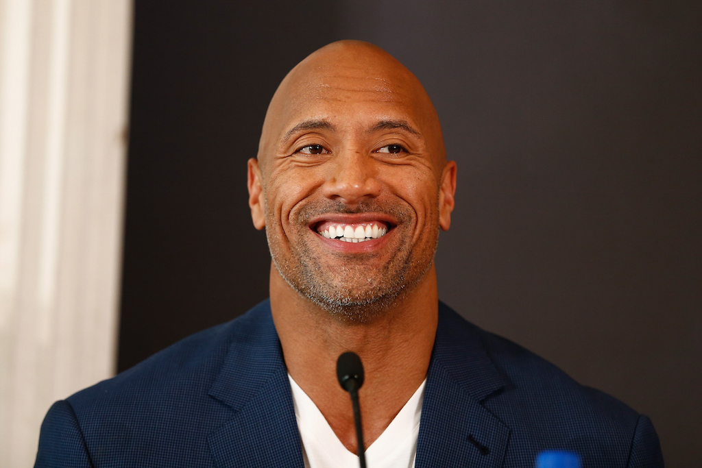 "Dwayne Johnson smiles at a ""Ballers"" Q&A."
