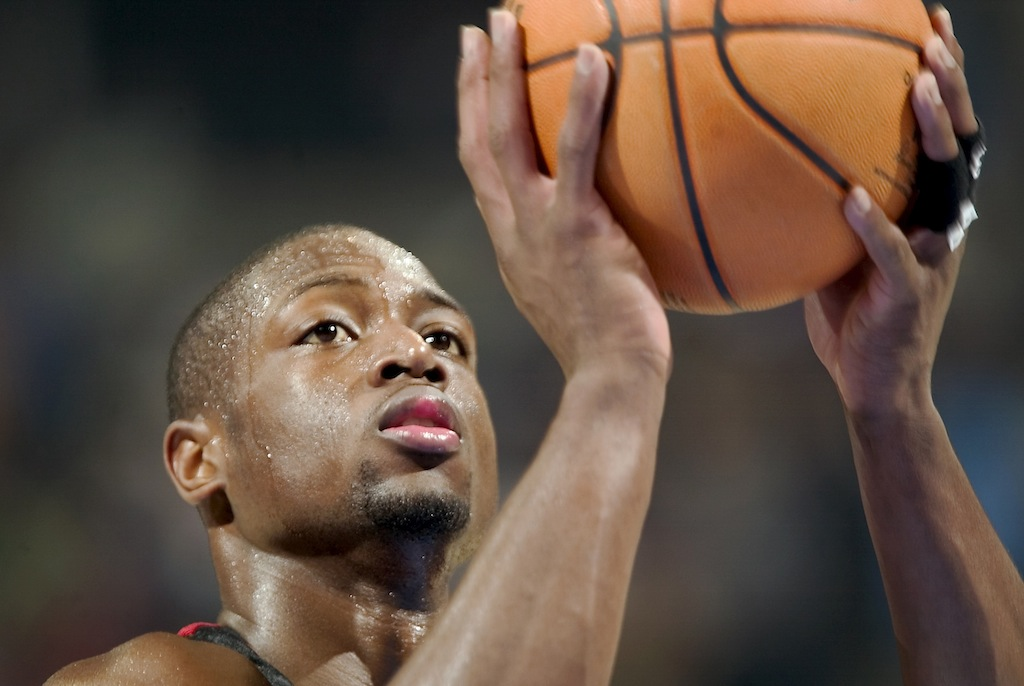 Dwyane Wade shoots a free throw.