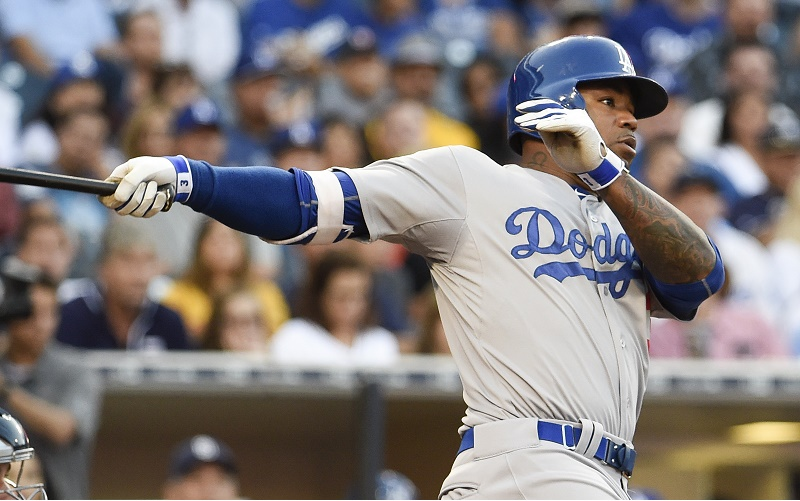SAN DIEGO, CA - SEPTEMBER 5: Carl Crawford #3 of the Los Angeles Dodgers hits an RBI double during the fourth inning of a baseball game against the San Diego Padres at Petco Park September 5, 2015 in San Diego, California. (Photo by Denis Poroy/Getty Images)