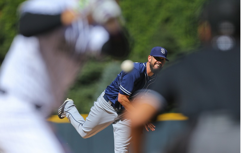 DENVER, CO - SEPTEMBER 20: Starting pitcher James Shields #33 of the San Diego Padres delivers to home plate during the first inning against the Colorado Rockies at Coors Field on September 20, 2015 in Denver, Colorado. (Photo by Justin Edmonds/Getty Images) *** Local Caption *** James Shields