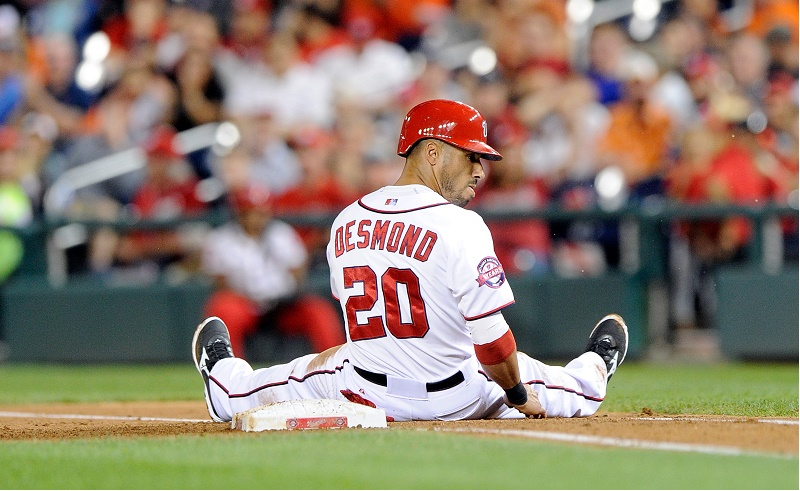 Ian Desmond on the base at Nationals Park on September 22, 2015 in Washington, DC.
