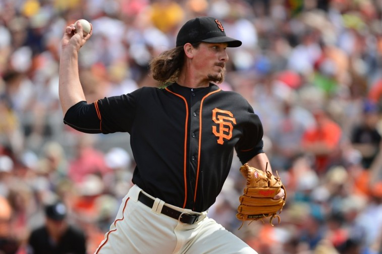 Starting pitcher Jeff Samardzija of the San Francisco Giants delivers a pitch.