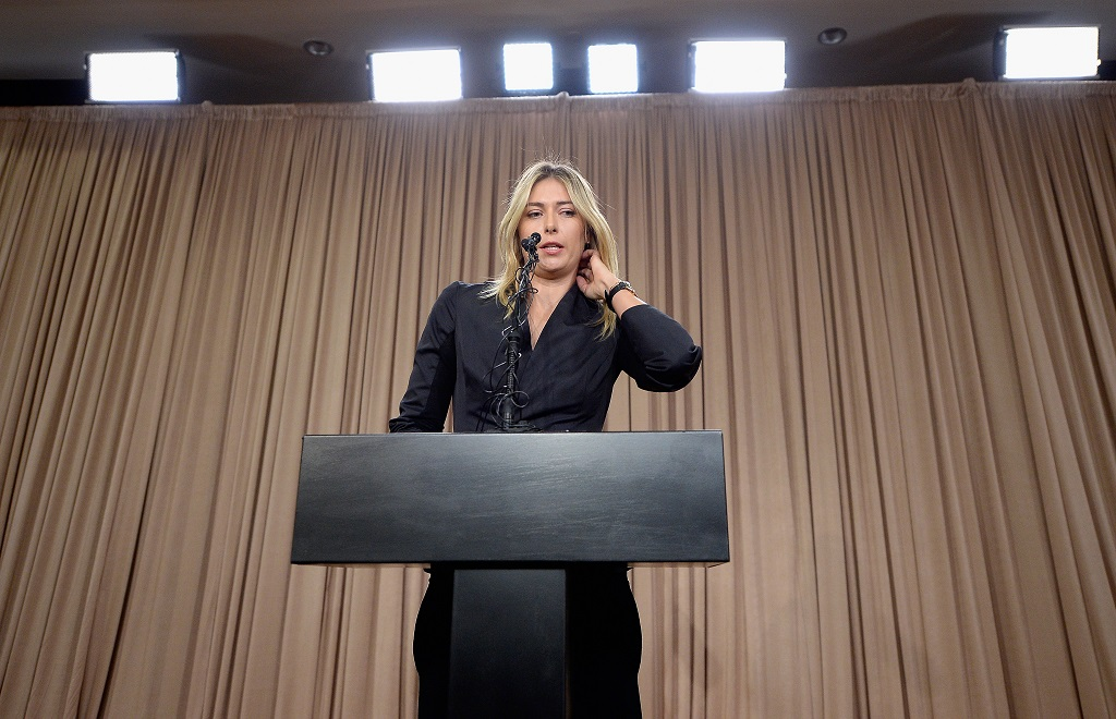 Tennis player Maria Sharapova addresses the media at The LA Hotel Downtown on March 7, 2016 in Los Angeles, California. Sharapova, a five-time major champion, is currently the 7th ranked player on the WTA tour. Sharapova, withdrew from this week's BNP Paribas Open at Indian Wells due to injury.