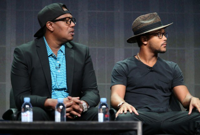 Master P (L) and Romeo Miller speak onstage during a panel discussion.