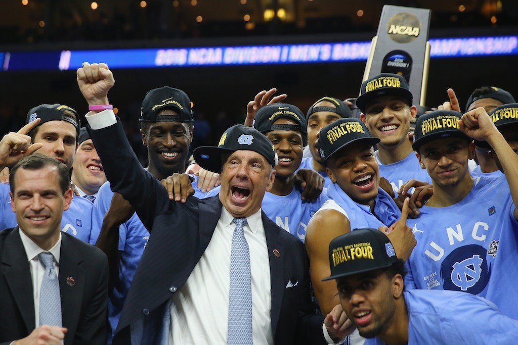North Carolina Tar Heels celebrate their trip to the Final Four.