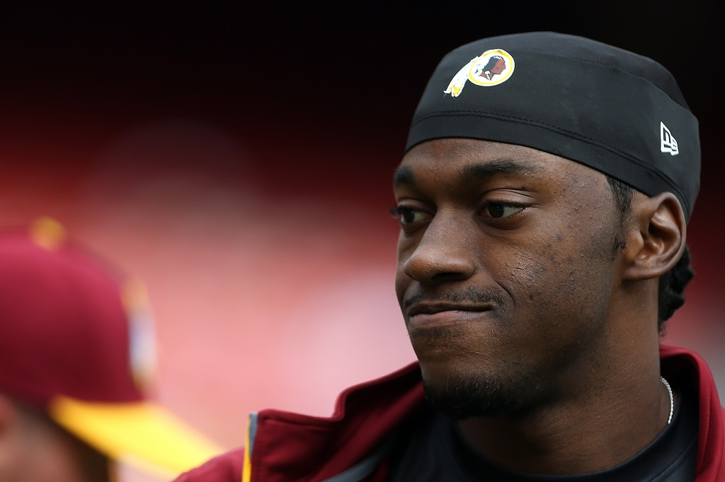 LANDOVER, MD - SEPTEMBER 20: Quarterback Robert Griffin III #10 of the Washington Redskins looks on prior to the start of a game against the St. Louis Rams at FedExField on September 20, 2015 in Landover, Maryland.