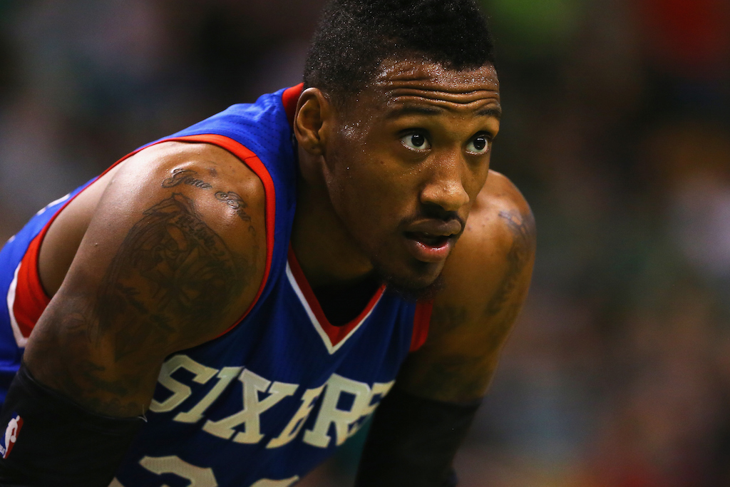 Robert Covington #33 of the Philadelphia 76ers looks on during the game against the Boston Celtics. (Photo by Maddie Meyer/Getty Images)