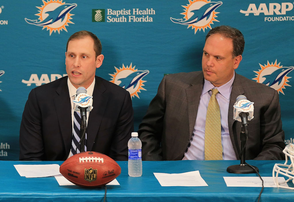 DAVIE, FL - JANUARY 09: The Miami Dolphins Executive vice president of football operations Mike Tannenbaum announce Adam Gase as their new head coach at Sunlife Stadium on January 9, 2016 in Davie, Florida.
