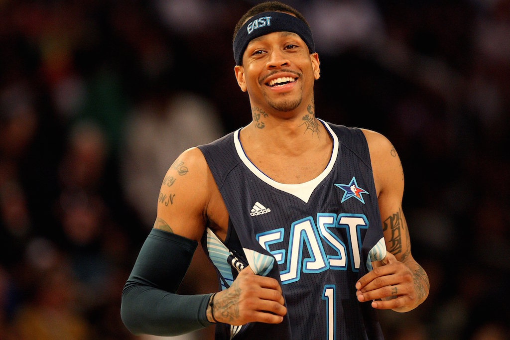 Allen Iverson of the Eastern Conference smiles during the 58th NBA All-Star Game.