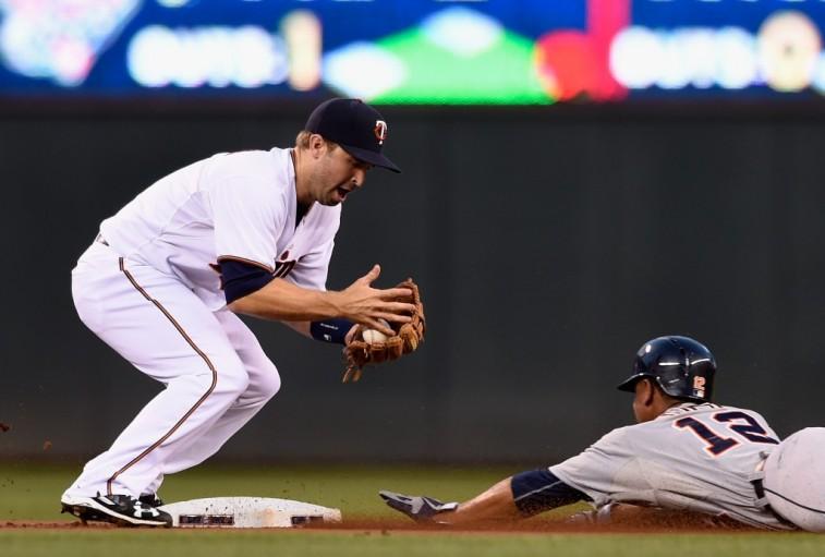 Anthony Gose slides into second base