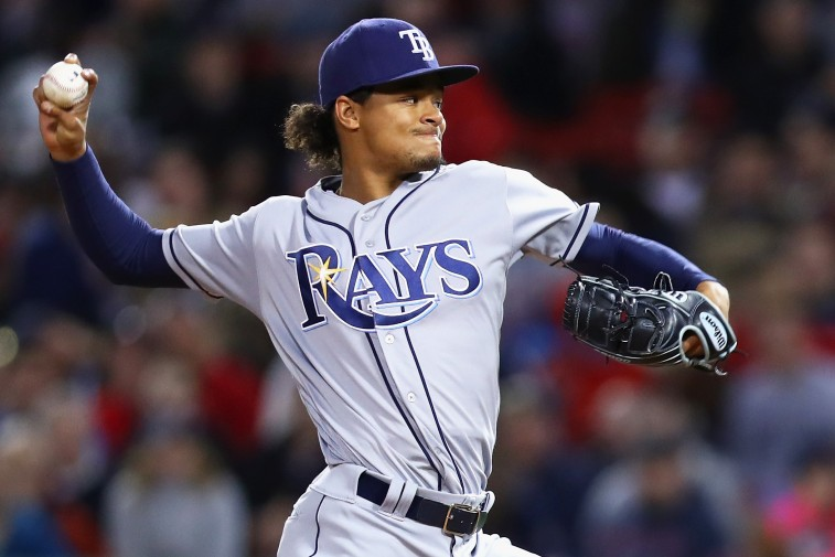 BOSTON, MA - APRIL 20: Chris Archer #22 of the Tampa Bay Rays pitches against the Boston Red Sox during the fourth inning at Fenway Park on April 20, 2016 in Boston, Massachusetts.