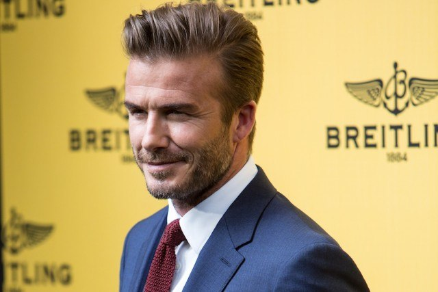 David Beckham attends a Breitling Boutique event.