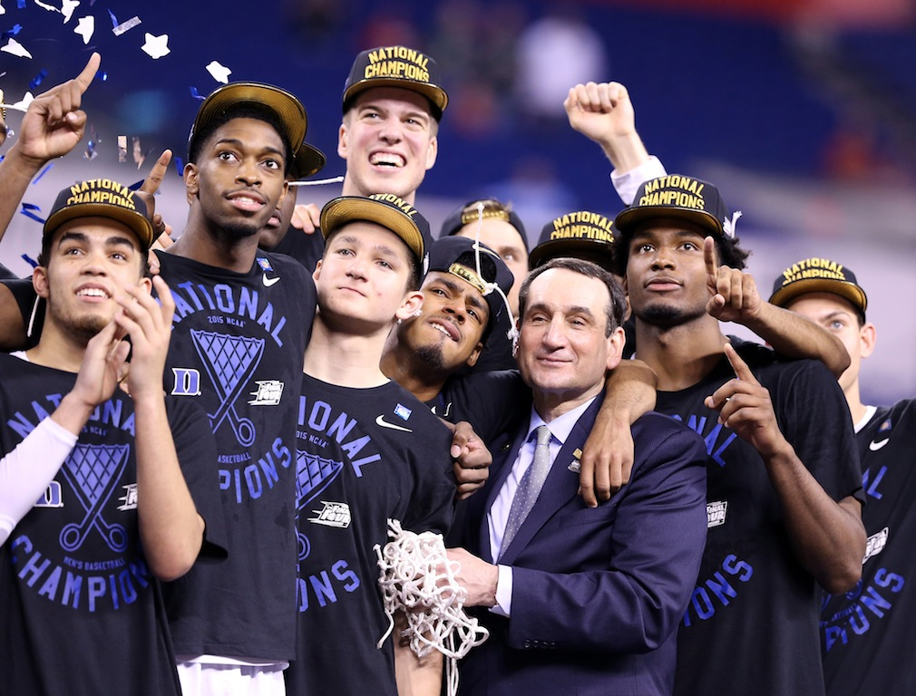 "Duke Blue Devils enjoy ""One Shining Moment"" after winning the title."