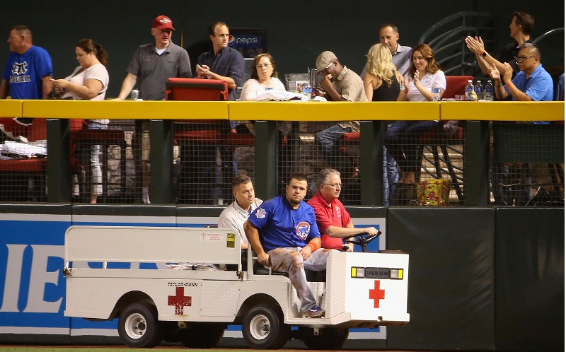 during the MLB game at Chase Field on April 7, 2016 in Phoenix, Arizona.