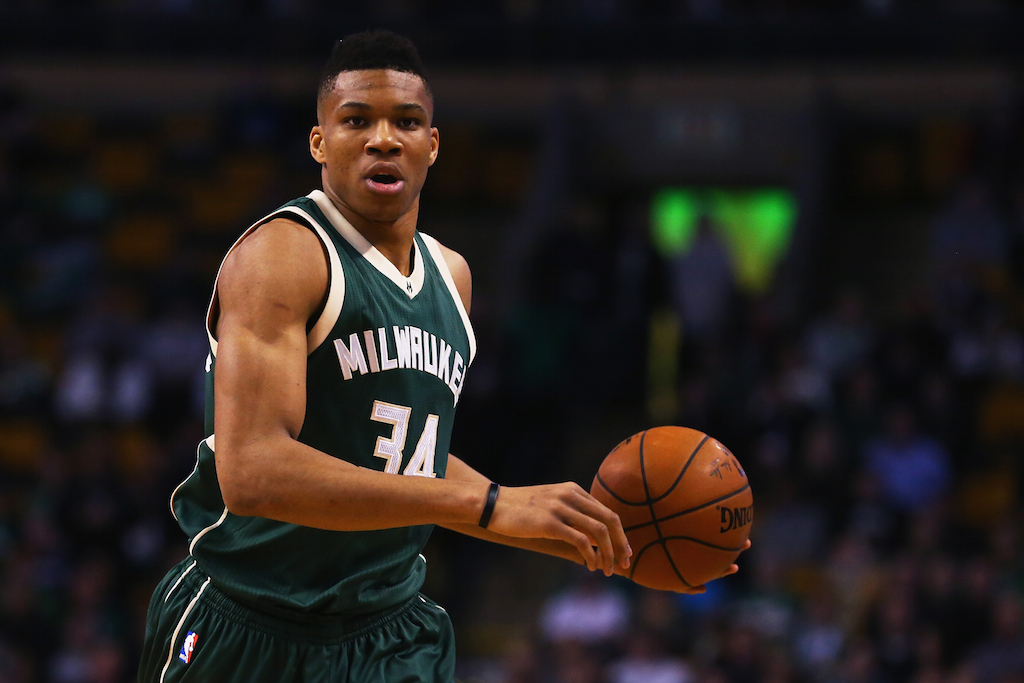 Giannis Antetokounmpo looks to pass.