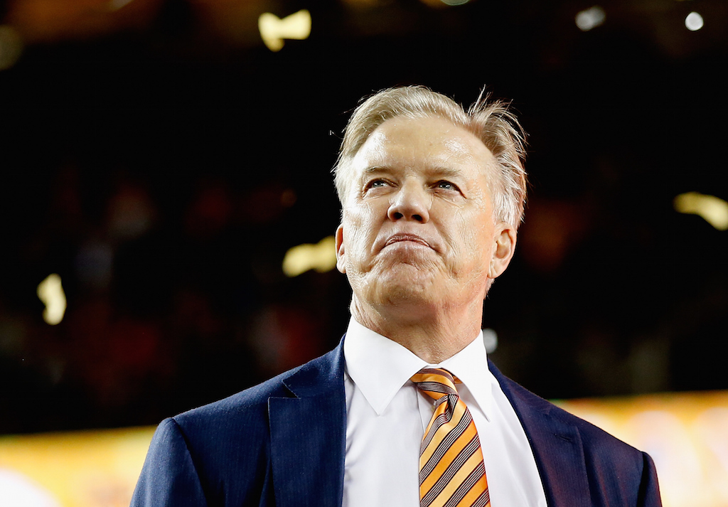 Denver Broncos General Manager John Elway looks on after their win over the Carolina Panthers during Super Bowl 50.