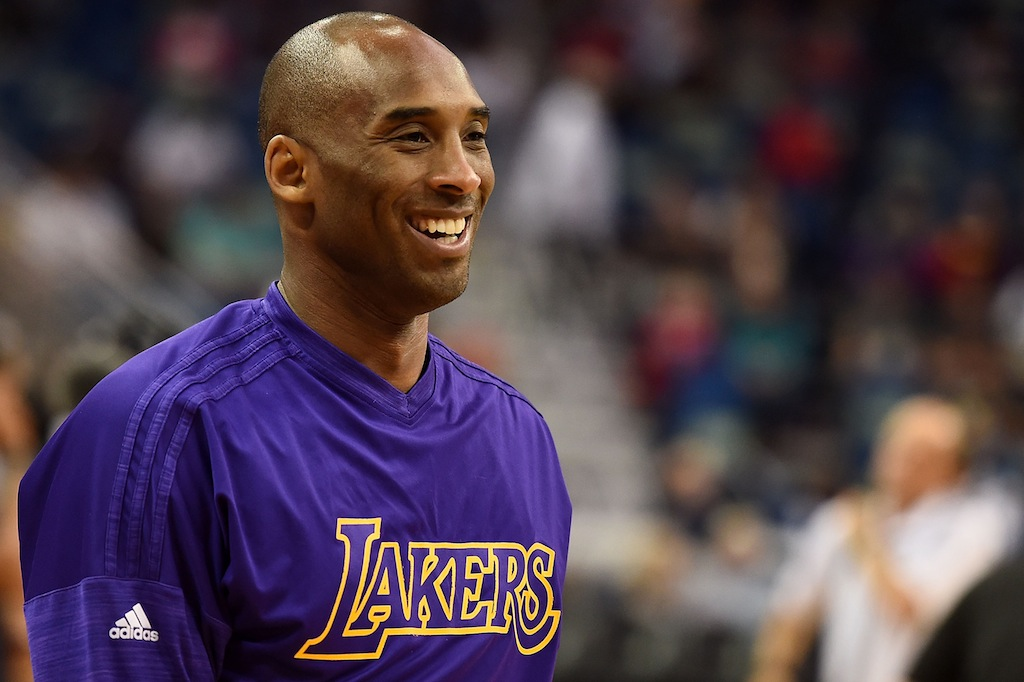 Kobe Bryant warms up prior to a game against the Pelicans. | Stacy Revere/Getty Images