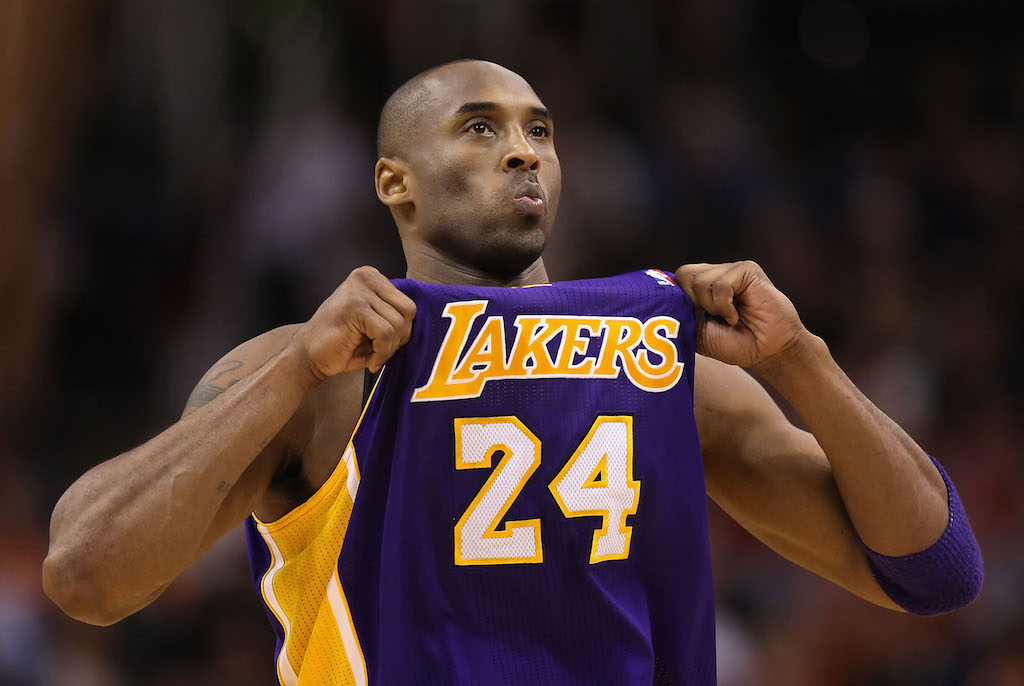 Kobe Bryant shows off his No. 24 jersey.