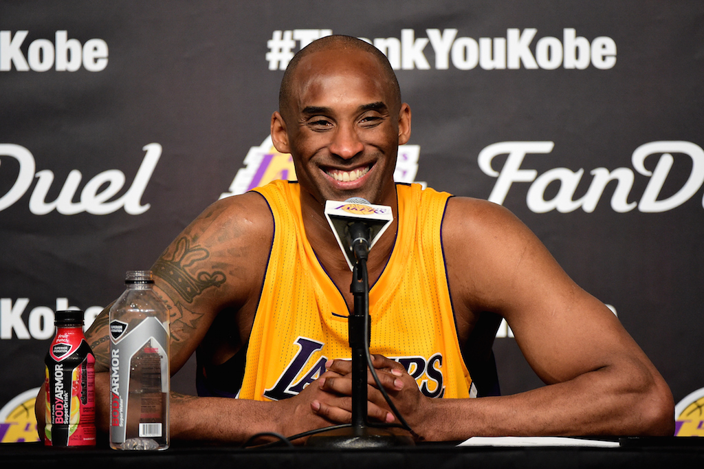 Kobe Bryant talks during a press conference.
