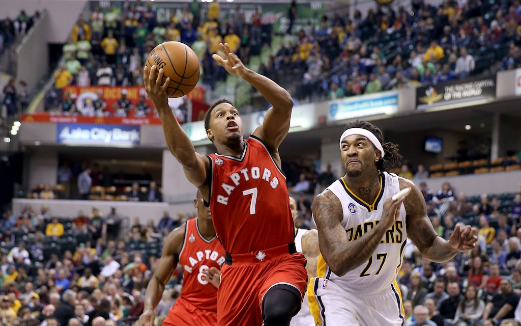 Kyle Lowry drives to the basket against the Pacers. | Andy Lyons/Getty Images